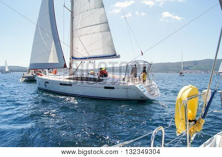 Tivat, Montenegro - 26 April, People on a sailboat, 26 April, 2016. Regatta