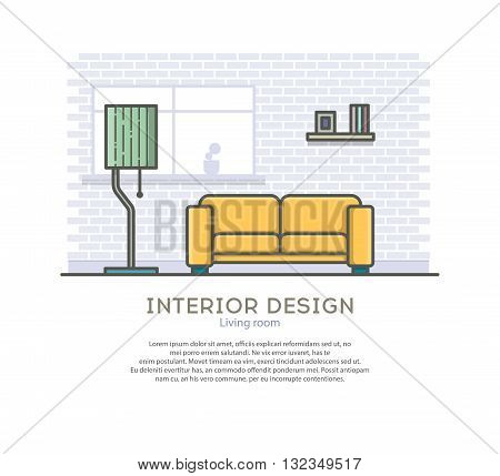 Interior design. Living room. Outline vector illustration on a white background.