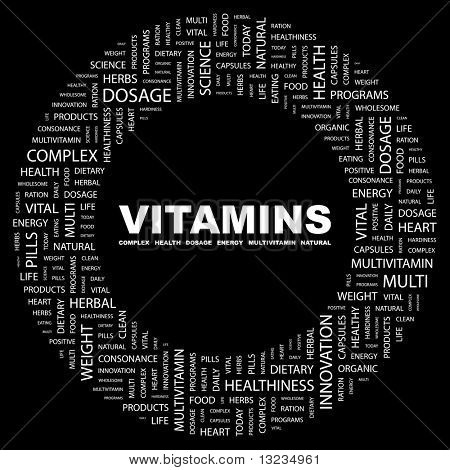 VITAMINS. Word collage on black background. Illustration with different association terms.