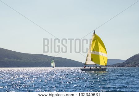 Tivat, Montenegro - 26 April, Two yachts on calm wate, 26 April,. 2016. Regatta