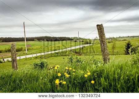 rural fields landscape St-Alban Quebec Canada on a cloudy spring day