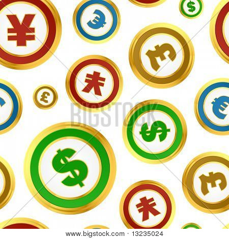 Seamless background with dollar, euro, yen and pound signs