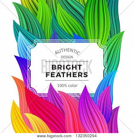 Celebration Background with Vibrant Colorful Feathers. White Frame on Rooster Tail Illustration. Vector Party Poster. Abstract Rainbow Banner.