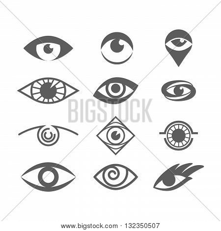 Vector Eyes Set Isolated on White. Eye Logo Concept. Eye Symbol Design Vector Template. Vision Logotype Concept Idea. Optical Eye Shapes.