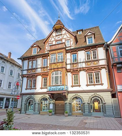 Heidenheim an der Brenz Germany - May 26 2016: Castles pharmacy (Schloss Apotheke) in the pedestrian area of Heidenheim an der Brenz.