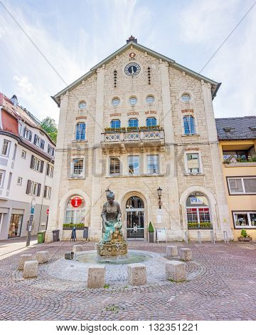 Heidenheim an der Brenz Germany - May 26 2016: Elmar-Doch-Haus it is located in the heart of the pedestrian area and hosts the tourist information city library and the community college.