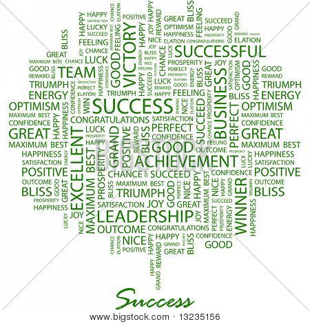 SUCCESS. Word collage on white background. Vector illustration.