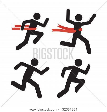 Run Man Icon. Running Human Silhouette Isolated on White. Marathon Runner Illustration. Relay Race Winner Symbol. Running Men with Red Ribbon. Runner Crosses a Red Ribbon. Running Figure Pictogram.