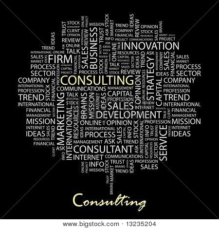 CONSULTING. Word collage on black background. Illustration with different association terms.