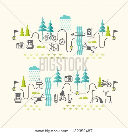 Summer vacation in nature. Hiking trail. Vector concept illustrations with icons of travel and vacation.