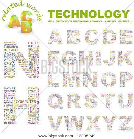 TECHNOLOGIE. Vektor Brief Sammlung. Abbildung mit verschiedenen Verband Bedingungen.