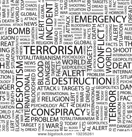 TERRORISM. Seamless vector background. Illustration with different association terms.