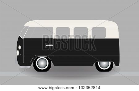 Cartoon cheerful minibus, which travels on the road. Vector Illustration. EPS