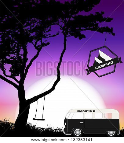 Cartoon Minibus in Nature a Tree Silhouette. Vector Illustration EPS10
