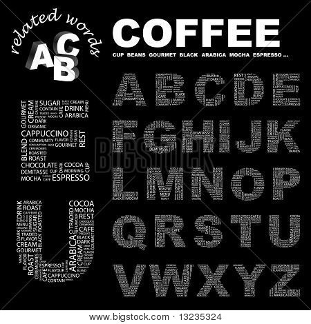 COFFEE. Vector letter collection. Illustration with different association terms.