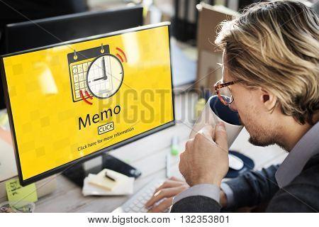 Memo Schedule Notes Plan Notice Concept