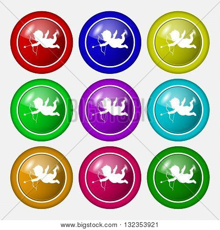 Cupid Icon Sign. Symbol On Nine Round Colourful Buttons. Vector