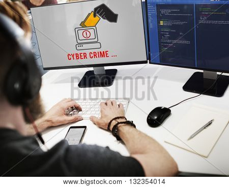 Cyber Attack Crime Fraud Phishing Hacker Security System Concept
