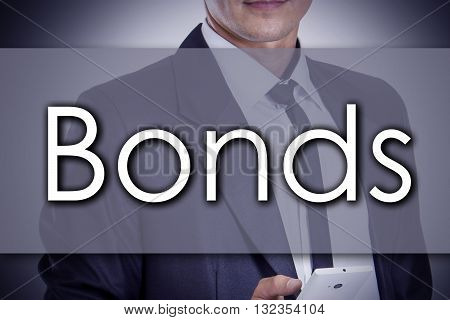 Bonds - Young Businessman With Text - Business Concept