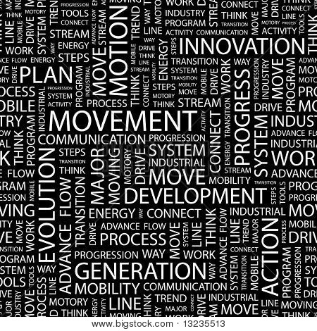 MOVEMENT. Seamless vector pattern with word cloud. Illustration with different association terms.
