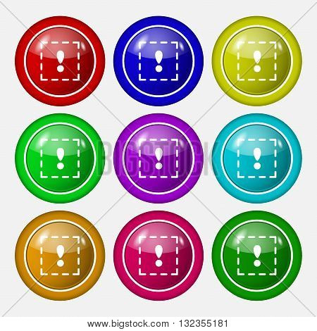 The Exclamation Point In A Square Icon Sign. Symbol On Nine Round Colourful Buttons. Vector