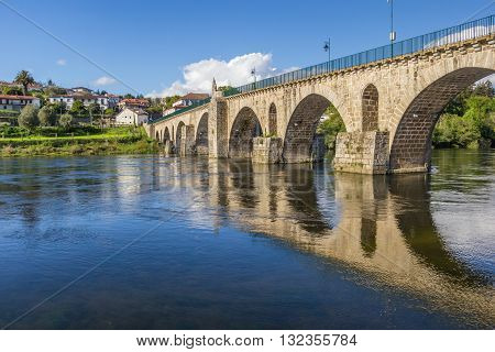 Historical Roman Bridge In Ponte Da Barca