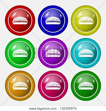 Burger, Hamburger Icon Sign. Symbol On Nine Round Colourful Buttons. Vector