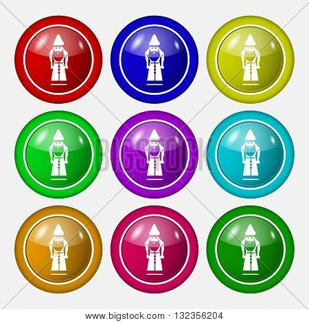 Santa Claus Icon Sign. Symbol On Nine Round Colourful Buttons. Vector
