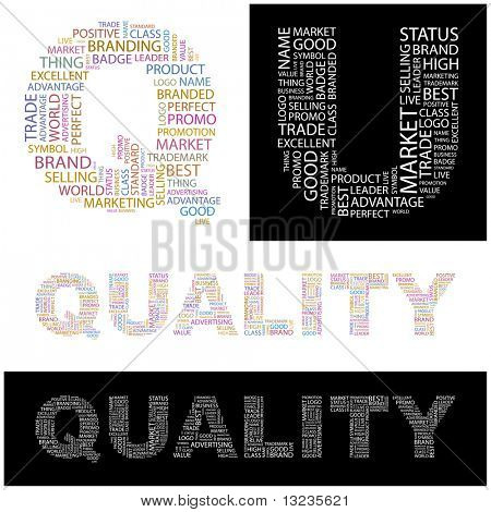 QUALITY. Word collage. Illustration with different association terms.