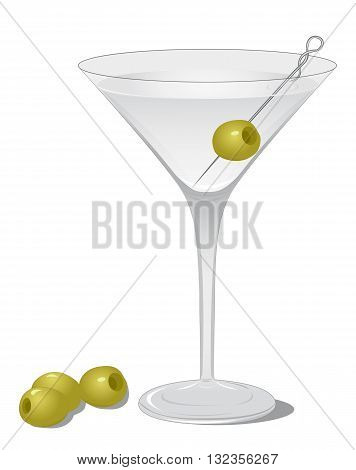 Cocktail Dry Martini isolated on white background