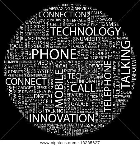 TELEFON. Wort-Collage auf schwarzem Hintergrund. Abbildung mit verschiedenen Verband Bedingungen.
