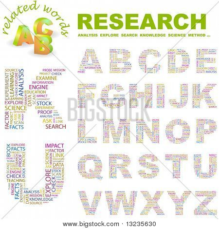 RESEARCH. Vector letter collection. Illustration with different association terms.