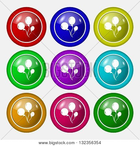 Balloons Icon Sign. Symbol On Nine Round Colourful Buttons. Vector