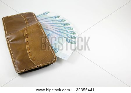 Wallet with Russian rubles on a white background