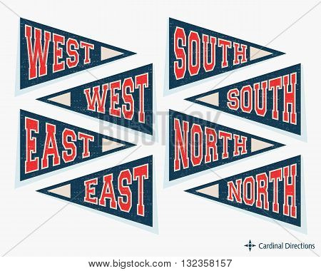 Pennant template set. Pennants with cardinal directions - north, east, south, and west. Vector illustration