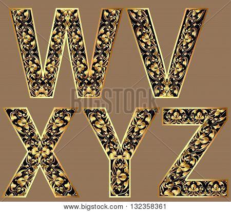 Illustration gold vintage decorative font characters wvxyz
