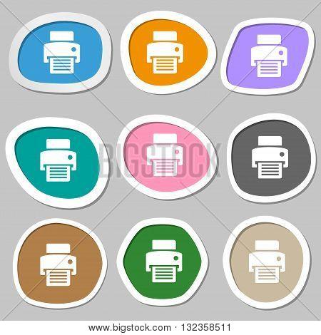 Fax, Printer Symbols. Multicolored Paper Stickers. Vector