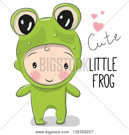 Cute Cartoon boy in a frog costume on a white background