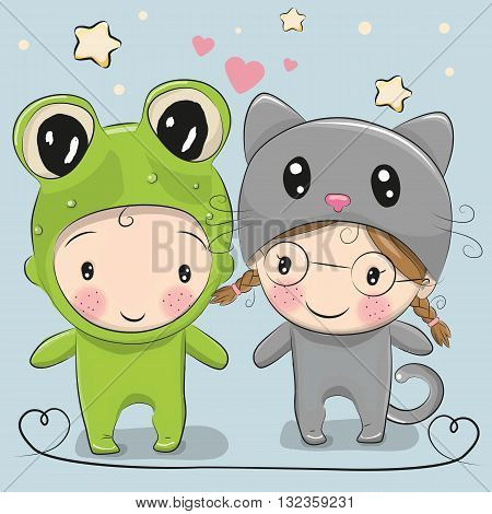 Cute Cartoon boy in a frog costume and girl in a cat costume