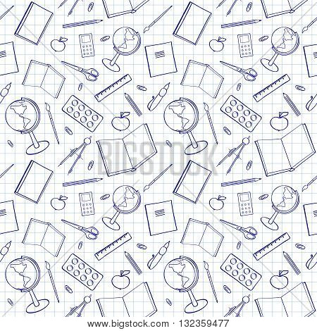 Seamless pattern with school-related items. Sketch-like illustration of books pens and other objects for studies. Background imitating a sheet of paper from a copy-book. Already in swatches.
