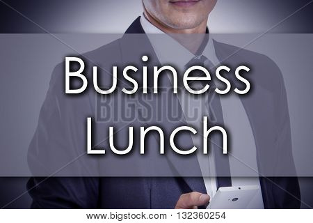 Business Lunch - Young Businessman With Text - Business Concept
