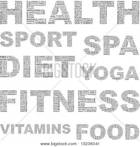 HEALTH. Word collage. Illustration with different association terms.