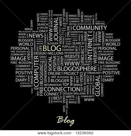 BLOG. Wort-Collage auf schwarzem Hintergrund. Abbildung mit verschiedenen Verband Bedingungen.