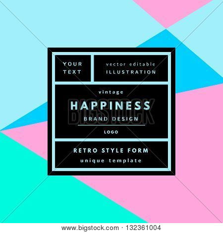 Retro logo in frame outline geometric background. Retro label package template. Romantic minimal logo in frame on geometric layout. Vintage modern label in frame outline geometric background. Retro package template. Trend layout, art print.