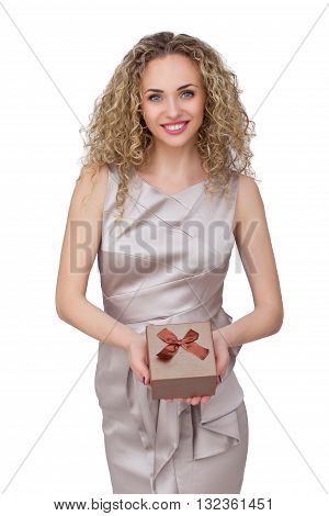 Present. woman in coctail dress holding present