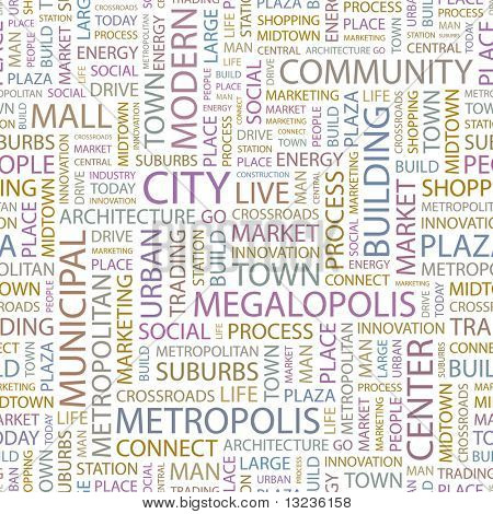 CITY. Seamless vector background. Illustration with different association terms.
