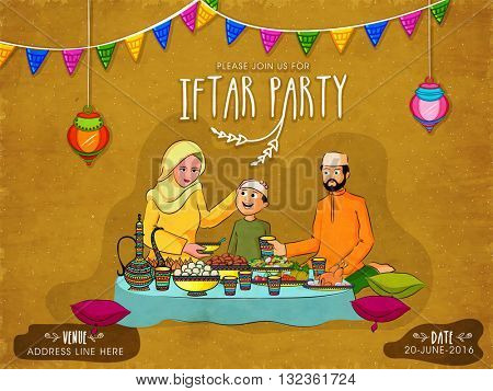 Happy Muslim Family enjoying delicious food together on hanging lamps and colourful buntings decorated background, Elegant creative Invitation Card for Iftar Party celebration.