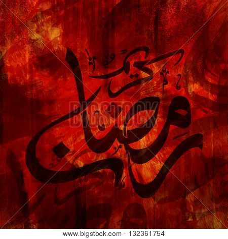 Creative Abstract Background with Arabic Calligraphy text Ramadan Kareem for Holy Month of Prayer Celebration.
