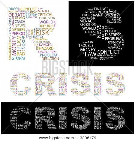 CRISIS. Collage de la palabra. Ilustración con términos diferentes de la asociación.
