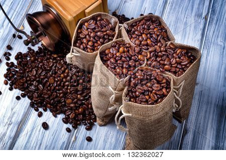 Jute Bags With Coffee Beans And Grinder